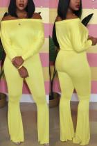 Yellow Fashion Casual Solid Basic Bateau Neck Regular Jumpsuits