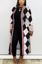 Black White Daily Polyester Twilled Satin Print Cardigan O Neck Outerwear