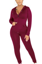 Wine Red Sexy Polyester Solid Split Joint Hooded Collar Long Sleeve Regular Sleeve Regular Two Pieces