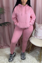 Pink Sexy Print Hooded Collar Long Sleeve Two Pieces