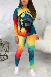 Yellow Sexy Print Tie-dye O Neck Long Sleeve Two Pieces