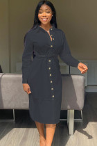 Black Polyester Casual Shirt sleeves Long Sleeves Notched Step Skirt Mid-Calf Patchwork Solid