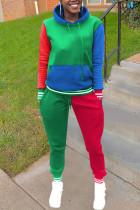 Green Sportswear Print Split Joint Hooded Collar Long Sleeve Two Pieces