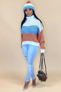Khaki knitting Turtleneck Long Sleeve Patchwork Striped Solid