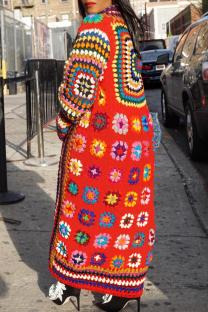 Multicolor Vintage National Totem Split Joint Halter Outerwear