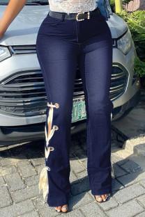 Dark Blue Fashion Casual Solid Strap Design High Waist Regular Jeans