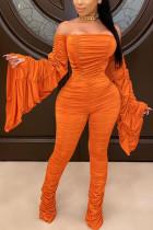 Orange Fashion Casual Adult Polyester Solid Fold Bateau Neck Plus Size
