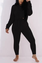 Black Casual Living Solid Basic O Neck Long Sleeve Two Pieces