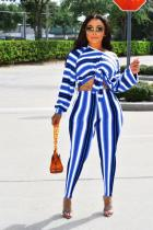 Blue Polyester adult Sexy Fashion Bandage Print Two Piece Suits Striped pencil Long Sleeve