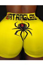 Dark Yellow Polyester Elastic Fly Mid Animal Prints shorts Bottoms