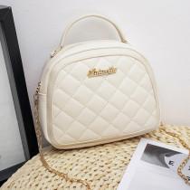 Cream white Fashion Casual Solid Chain Strap Crossbody Bag