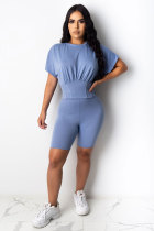 Light Blue Polyester Fashion Casual adult Patchwork Solid asymmetrical Two Piece Suits Straight Short Sleeve Two Pieces