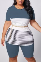 Grey Polyester Fashion Casual adult Ma'am O Neck Striped Patchwork Two Piece Suits Stitching Plus Size