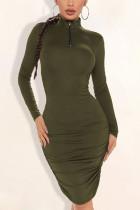 Black Green Polyester Solid Split Joint Fold Turtleneck Long Sleeve Knee Length Pencil Skirt Dresses