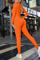 Orange Casual Living Solid Embroidered V Neck Skinny Jumpsuits