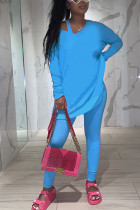 Blue Fashion Casual Adult Polyester Solid Split Joint O Neck Long Sleeve Regular Sleeve Regular Two Pieces