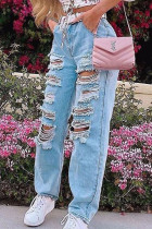 Baby Blue Casual Solid Ripped Regular Denim