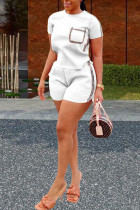 White Polyester Fashion Sexy Patchwork Solid Two Piece Suits Straight Short Sleeve Two Pieces