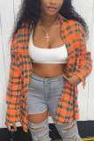 Tangerine Casual Polyester Plaid Shirt Collar Tops