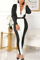 White Fashion Sexy Adult Polyester Patchwork Solid Split Joint Turndown Collar Skinny Jumpsuits