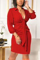 Red Sexy Solid Split Joint V Neck Pencil Skirt Dresses