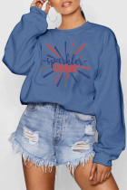 Blue Polyester O Neck Long Sleeve Letter Patchwork Print Burn-out Tops