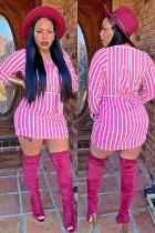 Pink Fashion Long Sleeves O neck Hip skirt Mini Striped Long Sleeve Dresses