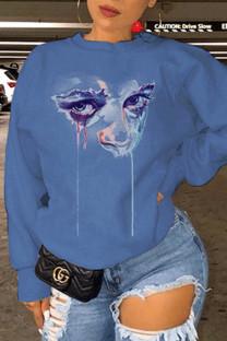 Blue Fashion Casual Print Basic O Neck Tops