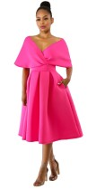 rose red Cute V-Neck Short Sleeve Ball Gown Middle length skirt Summer Dresses