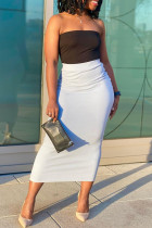 Black White Sexy Casual Solid Backless Strapless Sleeveless Two Pieces