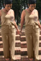 Khaki Polyester Fashion adult Ma'am OL Leopard Patchwork Two Piece Suits Loose Sleeveless Two Pieces