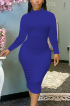 Blue Sexy Solid Split Joint O Neck Pencil Skirt Dresses