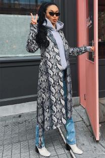 Silver cardigan serpentine Print Polyester Print Long Sleeve Coats & Cardigan