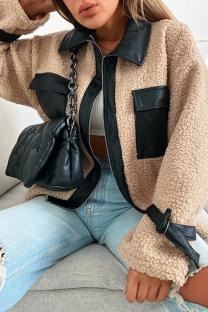 Khaki Casual Solid Split Joint Turndown Collar Outerwear