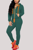 Army Green Sexy Casual Polyester Cotton Blends Solid Draw String Pocket Hooded Collar Long Sleeve Regular Sleeve Regular Two Pieces