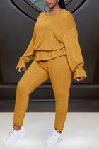 Yellow Fashion Sweet Solid Split Joint O Neck Long Sleeve Two Pieces