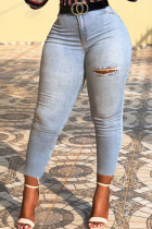 Baby Blue Casual Solid Ripped Buttons Pants Mid Waist Skinny Denim