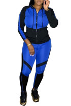 Blue Sexy Casual Sportswear Polyester Cotton Blends Patchwork Print Color Block Split Joint Hooded Collar Long Sleeve Regular Sleeve Regular Two Pieces