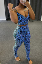 Blue Polyester Fashion Casual Leopard Patchwork Two Piece Suits pencil Sleeveless Two Pieces