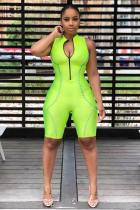 Green Fashion Sexy Asymmetrical Solid zipper Polyester Sleeveless Peter Pan Collar Rompers