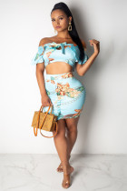 Blue Polyester adult Sexy Fashion ruffle Patchwork Two Piece Suits asymmetrical HOLLOWED OUT Print bow-kn