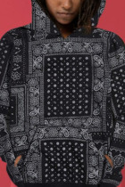 Black Work Daily Polyester Print Hooded Collar Outerwear