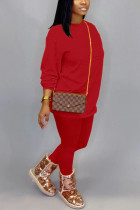 Red Cotton OL Solid pencil Long Sleeve Two Pieces