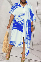 Blue Casual Patchwork Tie-dye Turndown Collar Shirt Dress Dresses