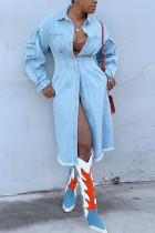Light Blue Fashion Casual Solid Cardigan Turndown Collar Long Sleeve Regular Denim Coats