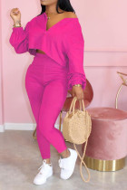 rose red Polyester Celebrities zipper Solid Fluorescent Plus Size