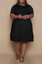 Black Fashion Casual Solid Flounce O Neck Short Sleeve Dress