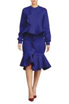 Blue Fashion Long Sleeves O neck Mermaid Knee-Length ruffle Solid Two Piece Dresses