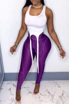 Purple Casual Sportswear Solid Asymmetrical U Neck Sleeveless Two Pieces