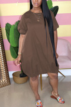 Coffee Casual Bubble sleeves Short Sleeves O neck Lantern skirt Knee-Length Solid Dresses